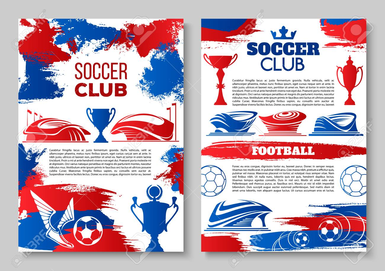 soccer club posters design template for football cup match