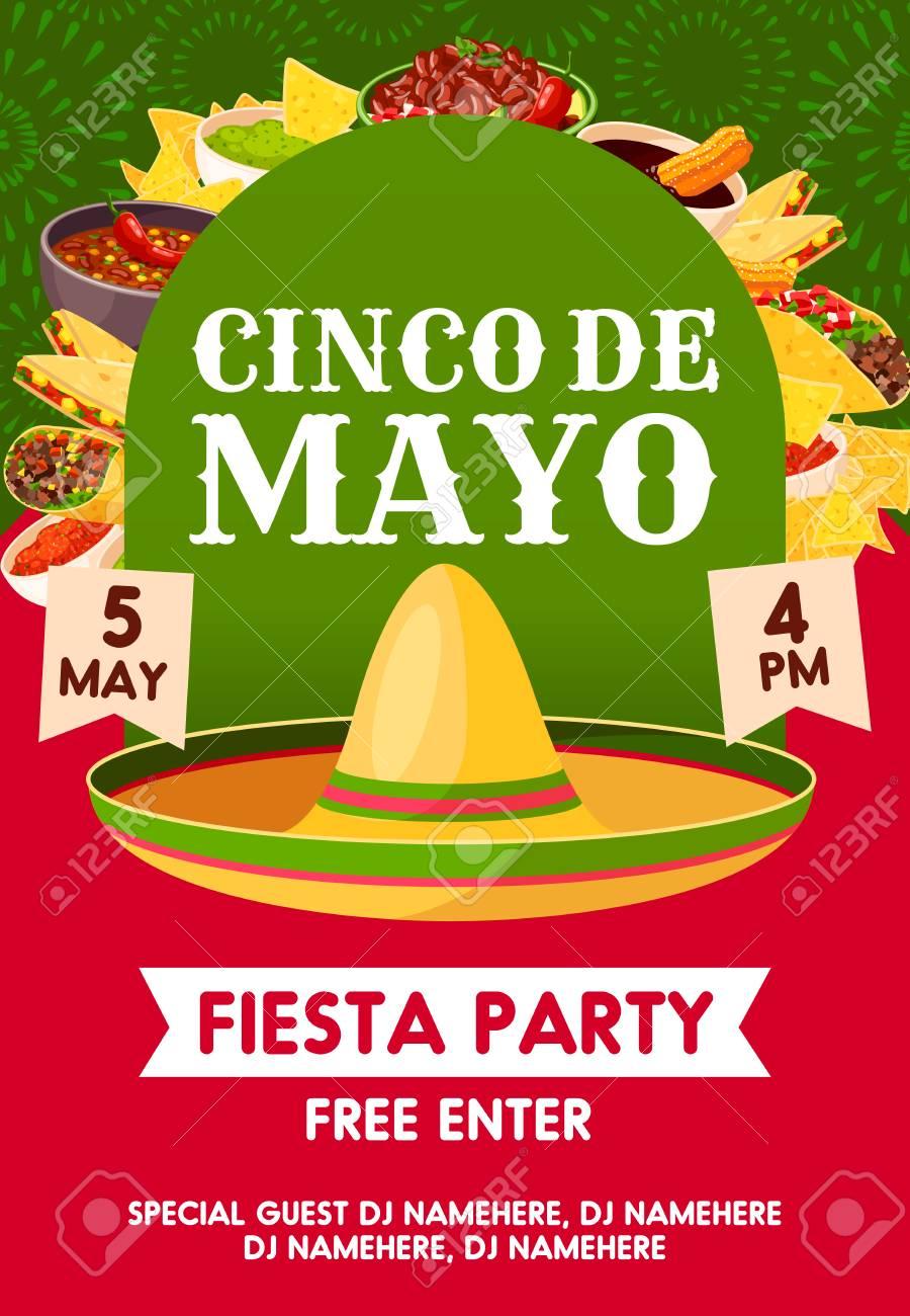 Cinco De Mayo Mexican Holiday Sombrero With Festive Food Invitation
