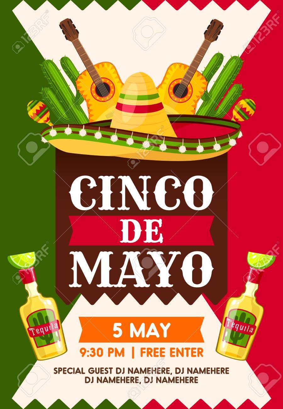 mexican cinco de mayo holiday fiesta party banner template sombrero