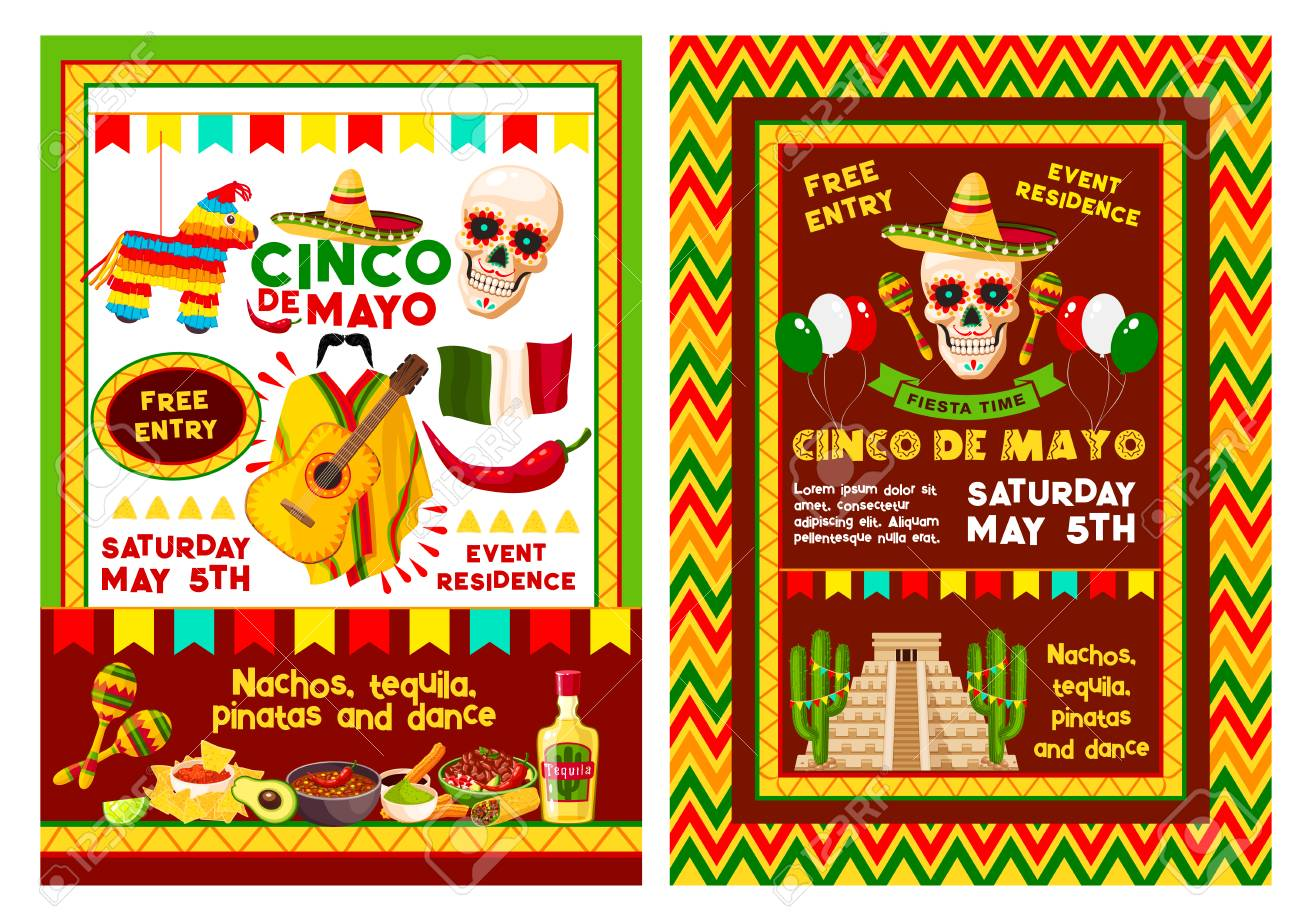 cinco de mayo fiesta party banner for mexican holiday invitation