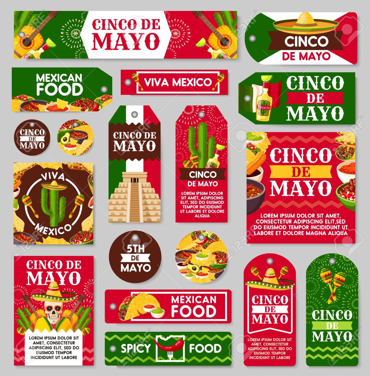 Mexican Cinco De Mayo Holiday Tag And Label Set Fiesta Party