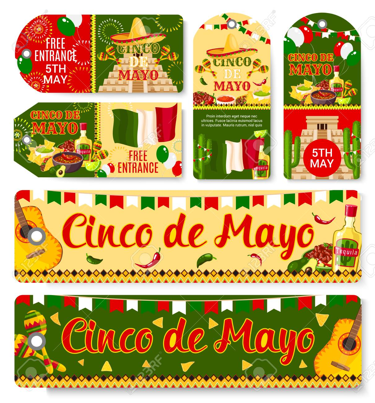 Cinco de Mayo Mexican holiday vector tags