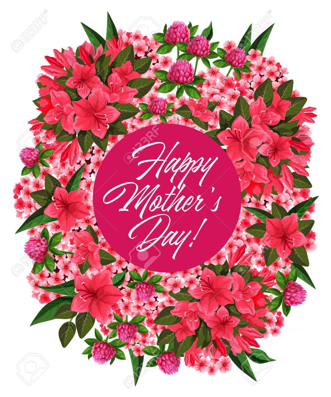 Mothers Day Pink Flower Wreath Greeting Card Design Royalty Free