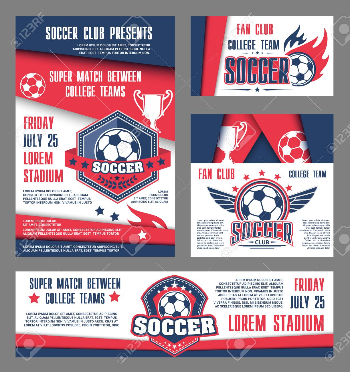 vector soccer team college football match posters illustration