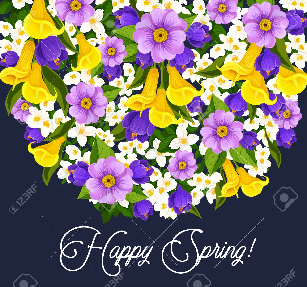 Happy spring greeting card with blooming flowers design on dark happy spring greeting card with blooming flowers design on dark background stock vector 97386205 m4hsunfo