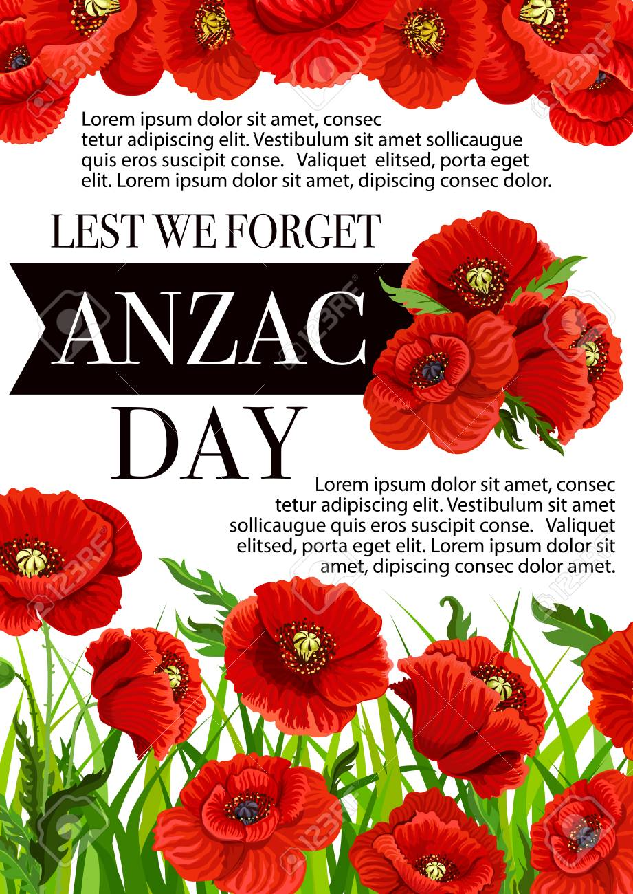 Anzac Day Lest We Forget Greeting Card Of Poppy Flowers Vector