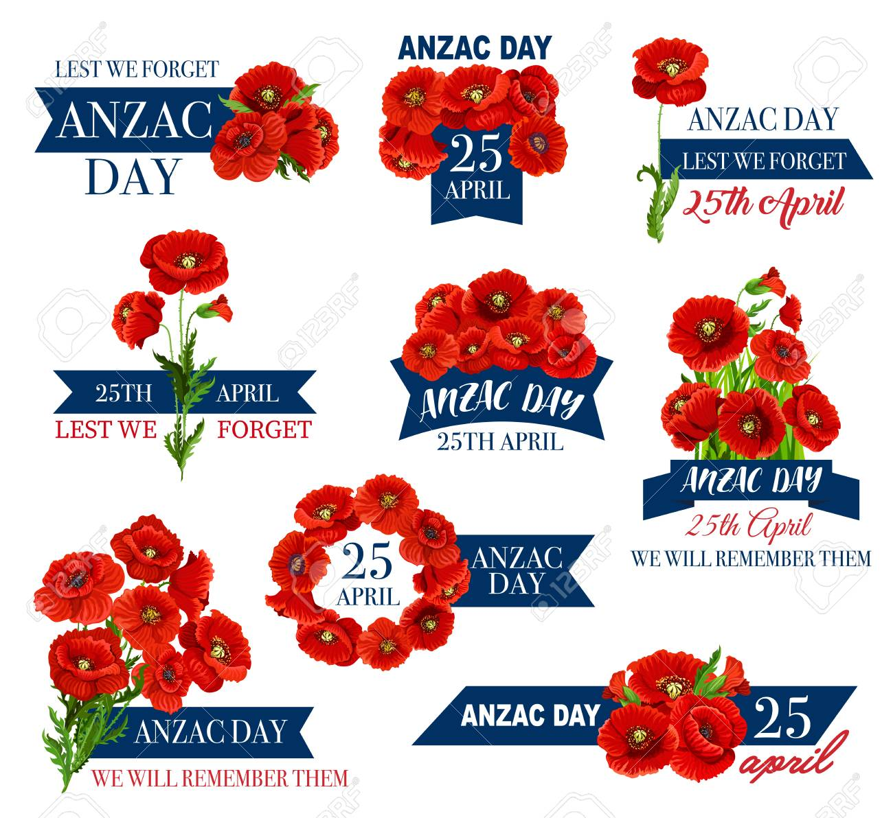 Anzac Day Icon Of Poppy Flower And Memorial Ribbon Illustration
