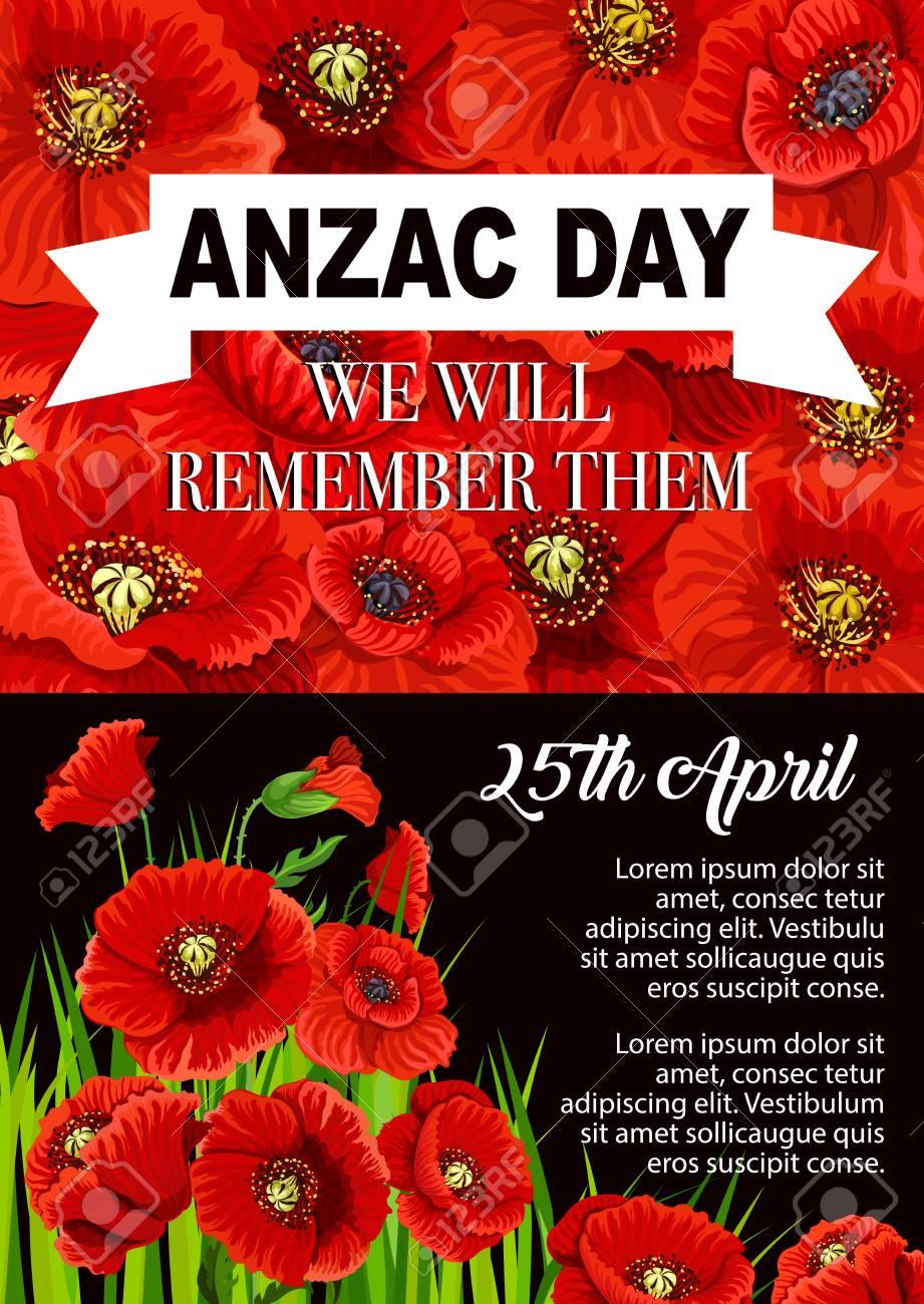 Anzac day poppy flower memorial poster design illustration royalty anzac day poppy flower memorial poster design illustration stock vector 97441869 mightylinksfo