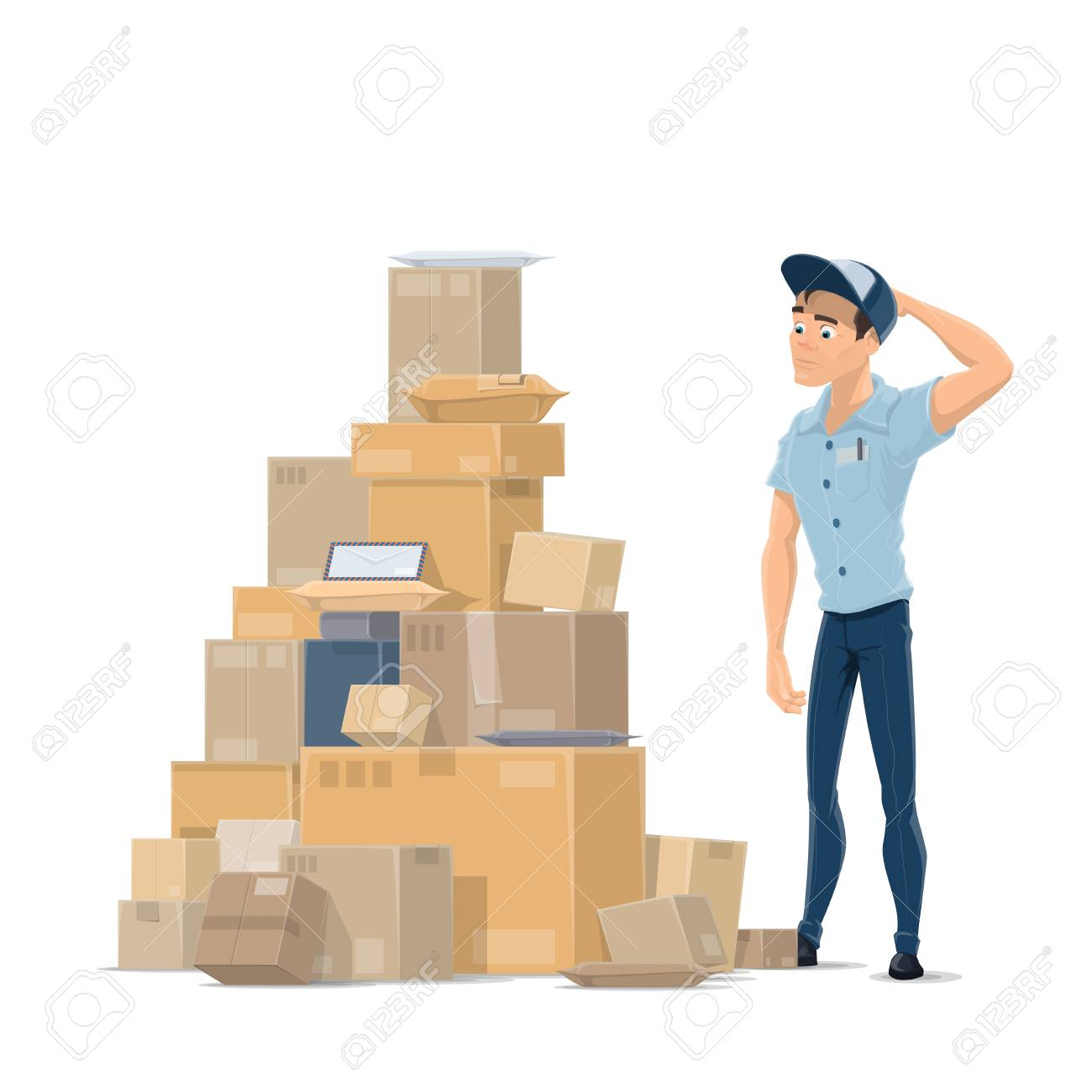 Mail parcels and postman vector flat icon - 97640729