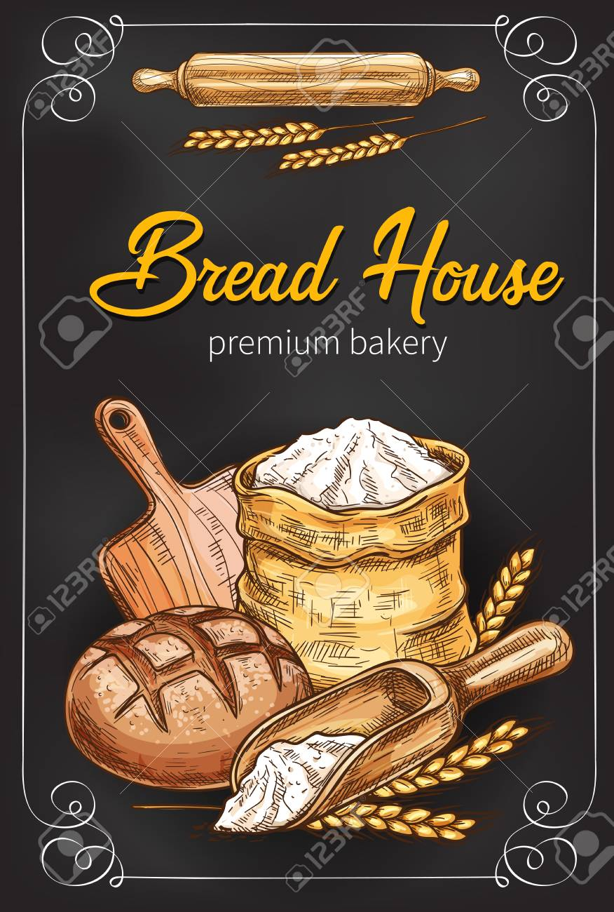 A Vector sketch poster for bakery bread house - 97617654
