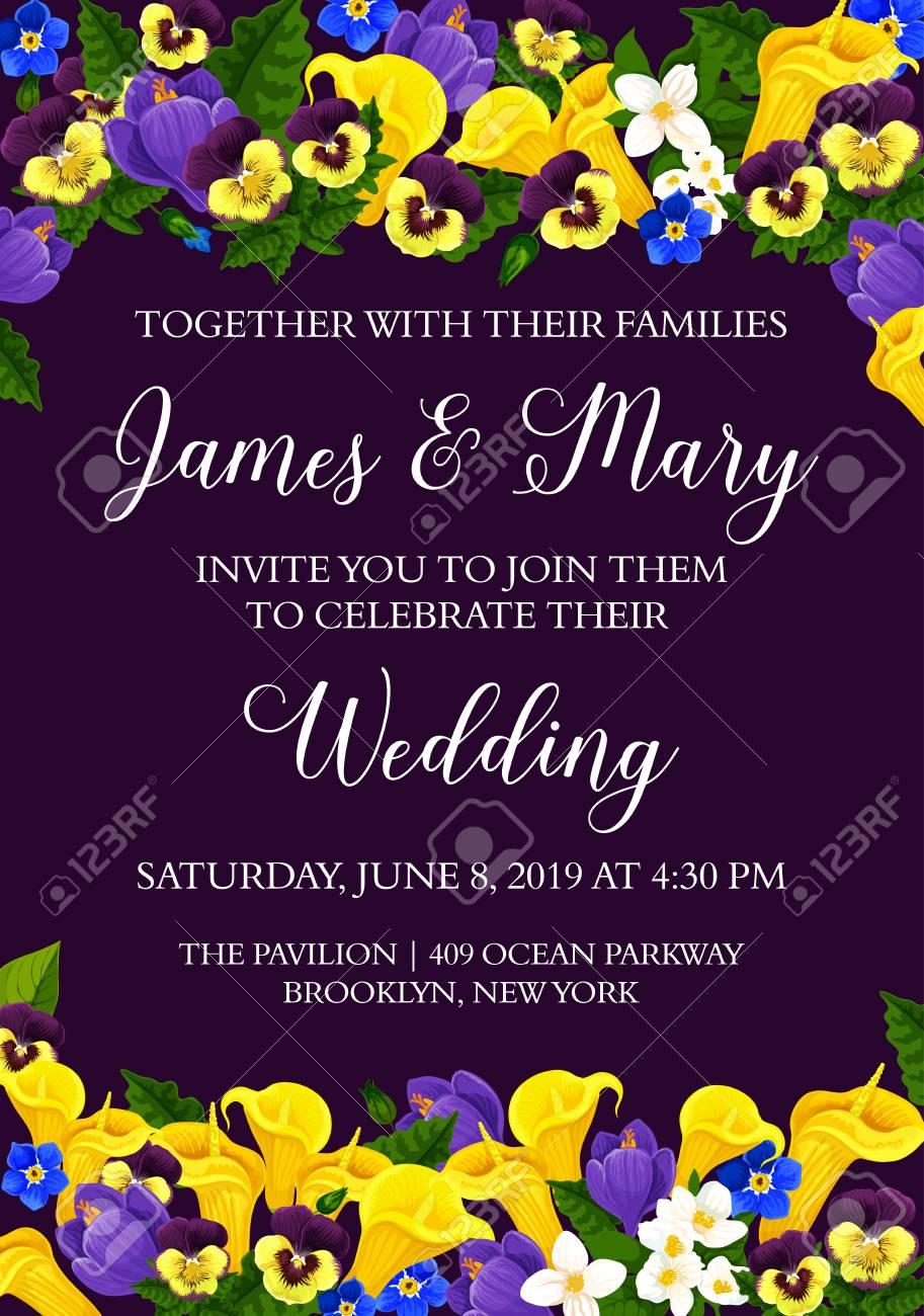 Wedding Party Invitation Card With Bride And Bridegroom Names