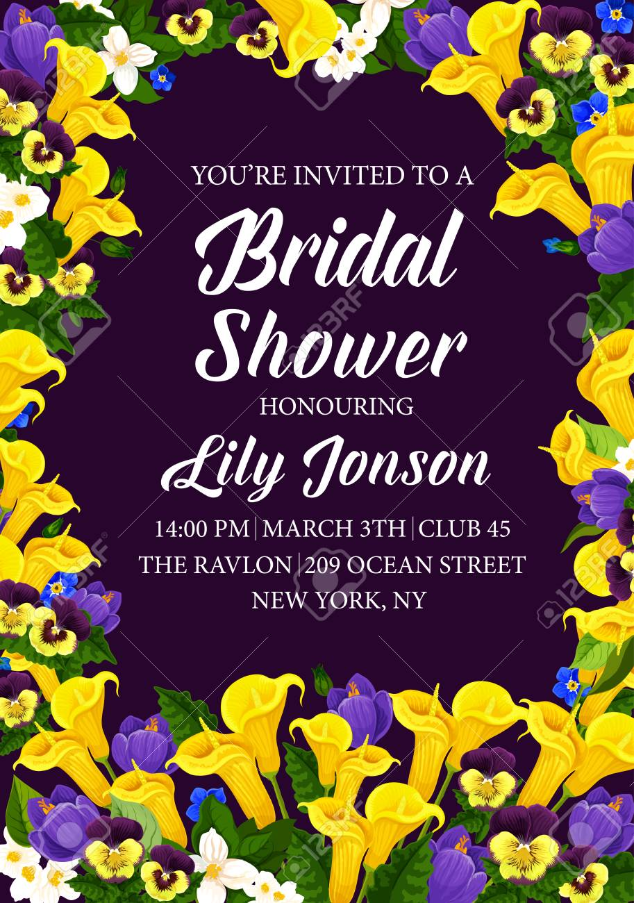a2db63ca0d7 Engagement party or bridal shower invitation card. Vector design of  blooming flowers bouquet with callas
