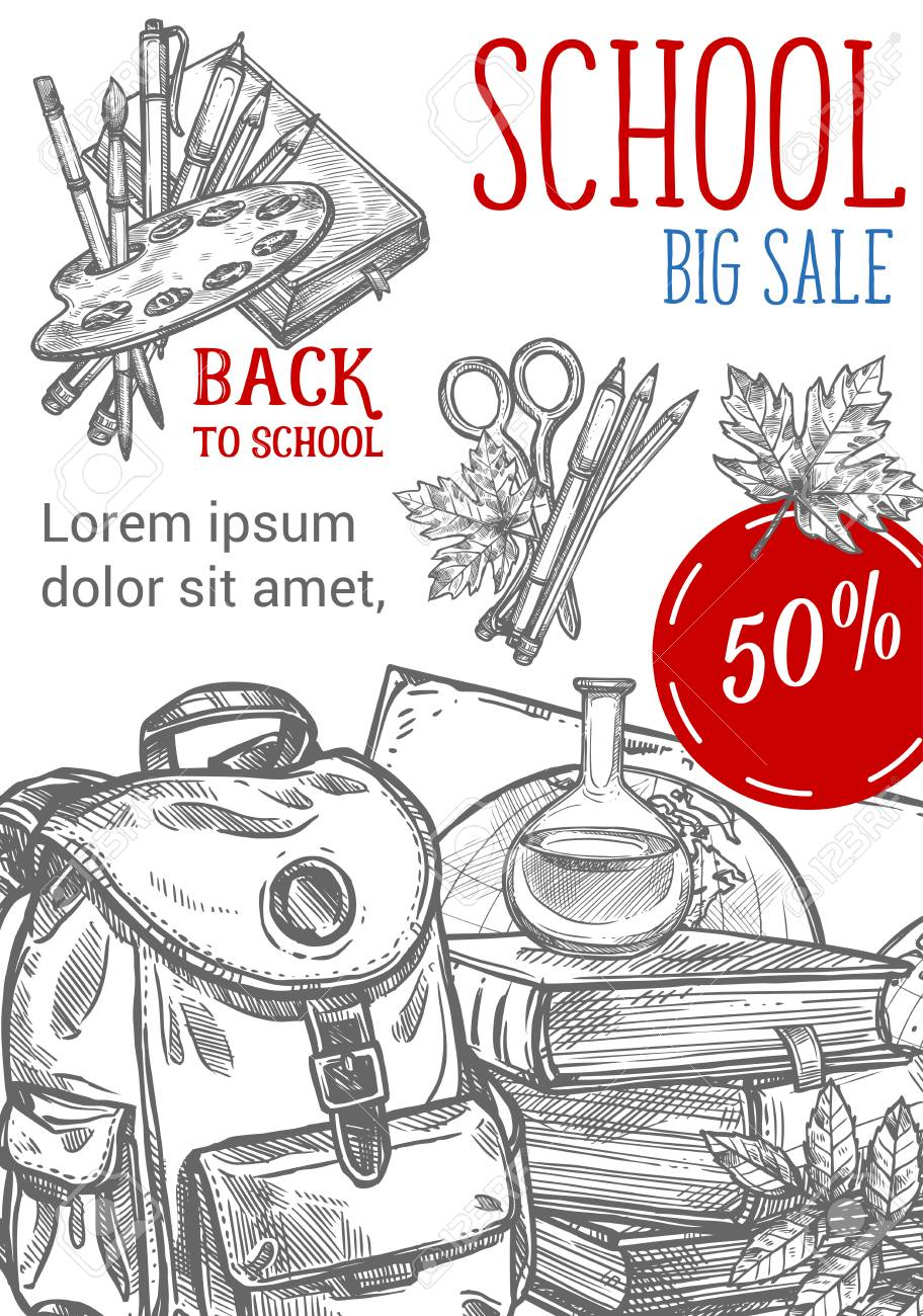 Back to school sale pencil sketch poster for september autumn seasonal school store discount promo vector of school bag books or paint brush and maple