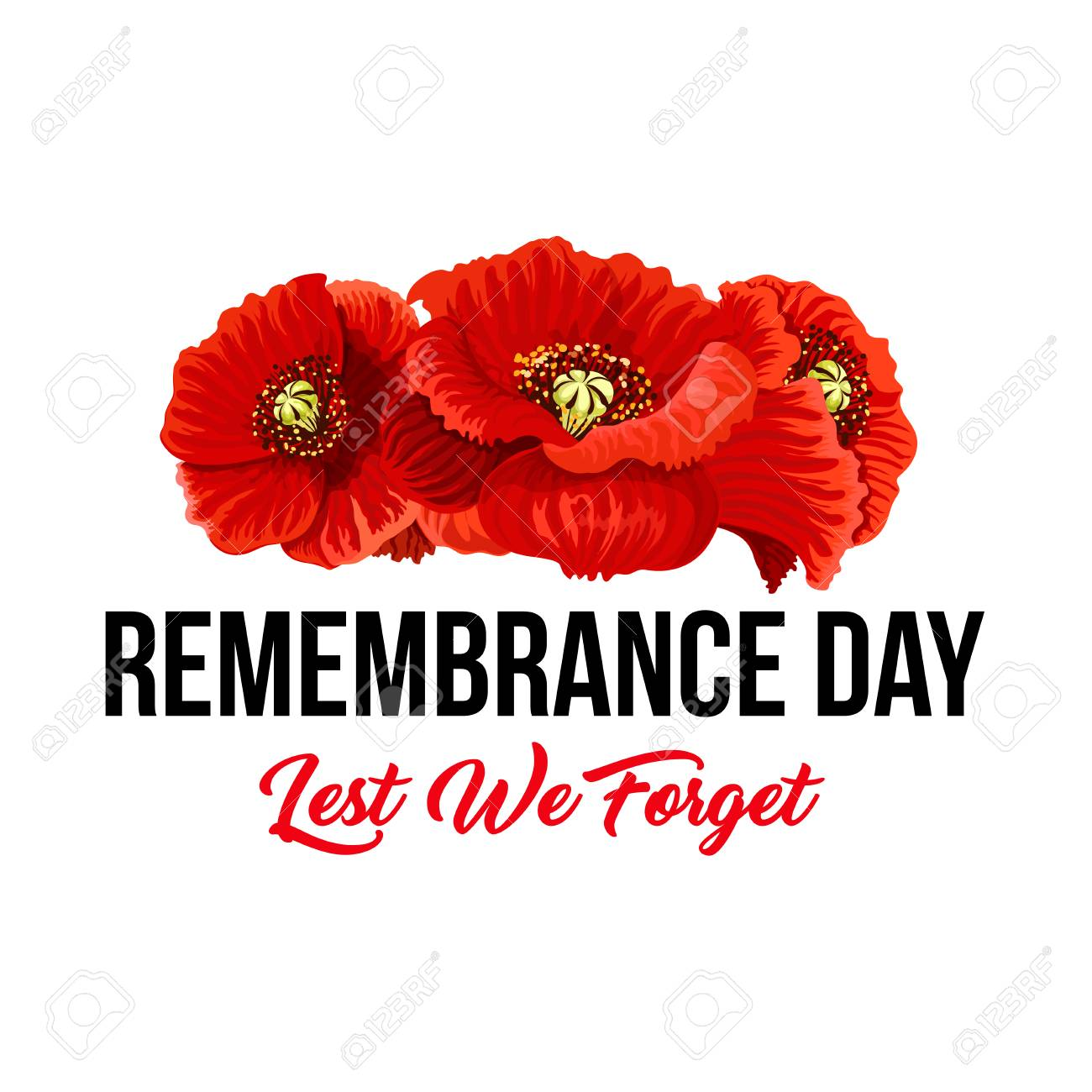 Poppy Flowers And Lest We Forget Icon For Remembrance Day Of