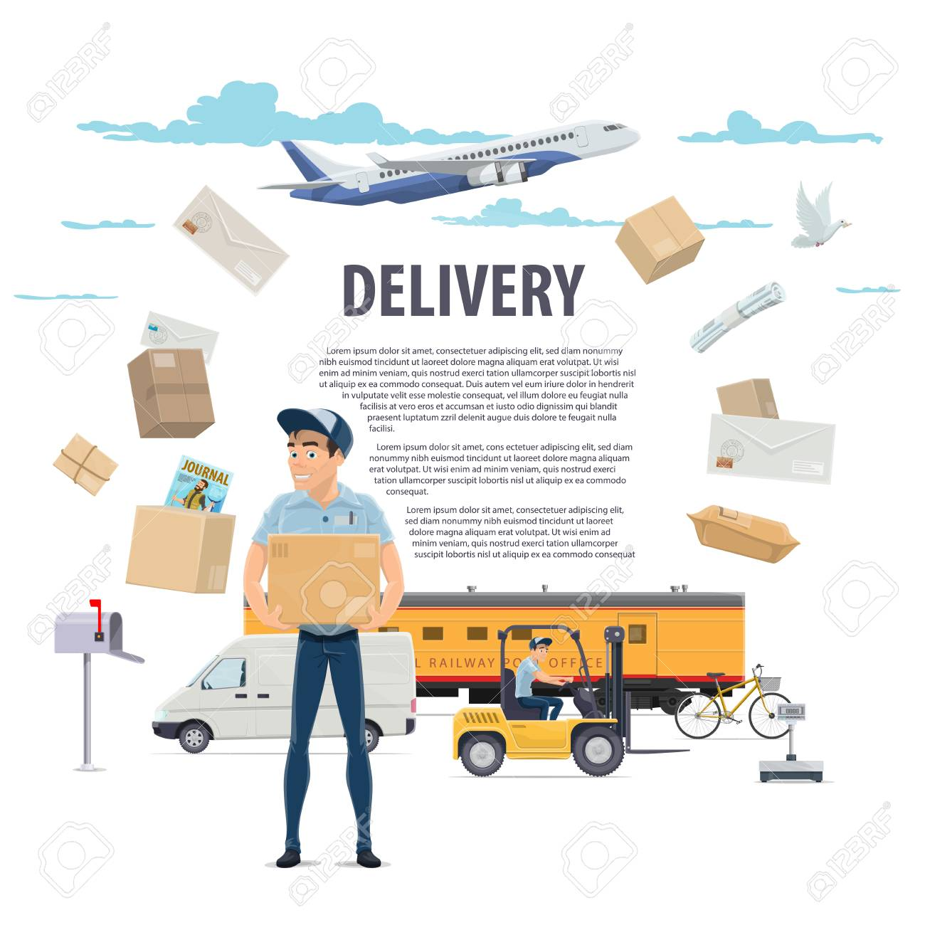 Post mail delivery and postman vector poster - 100029609
