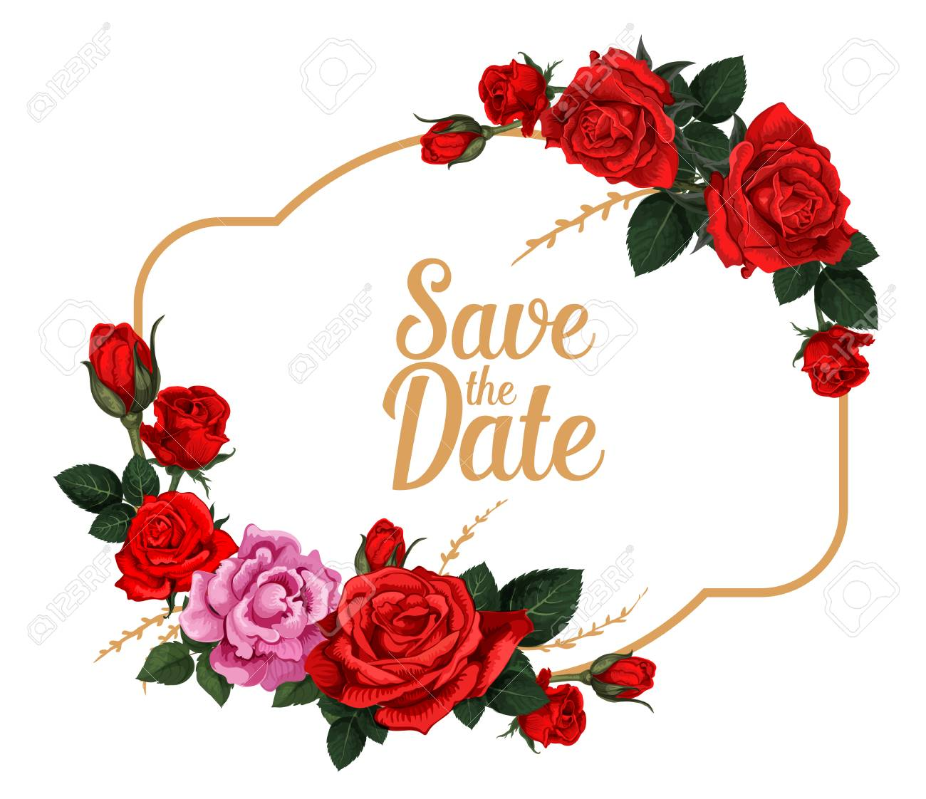 Save The Date Rose Flower Card For Wedding Invitation Design