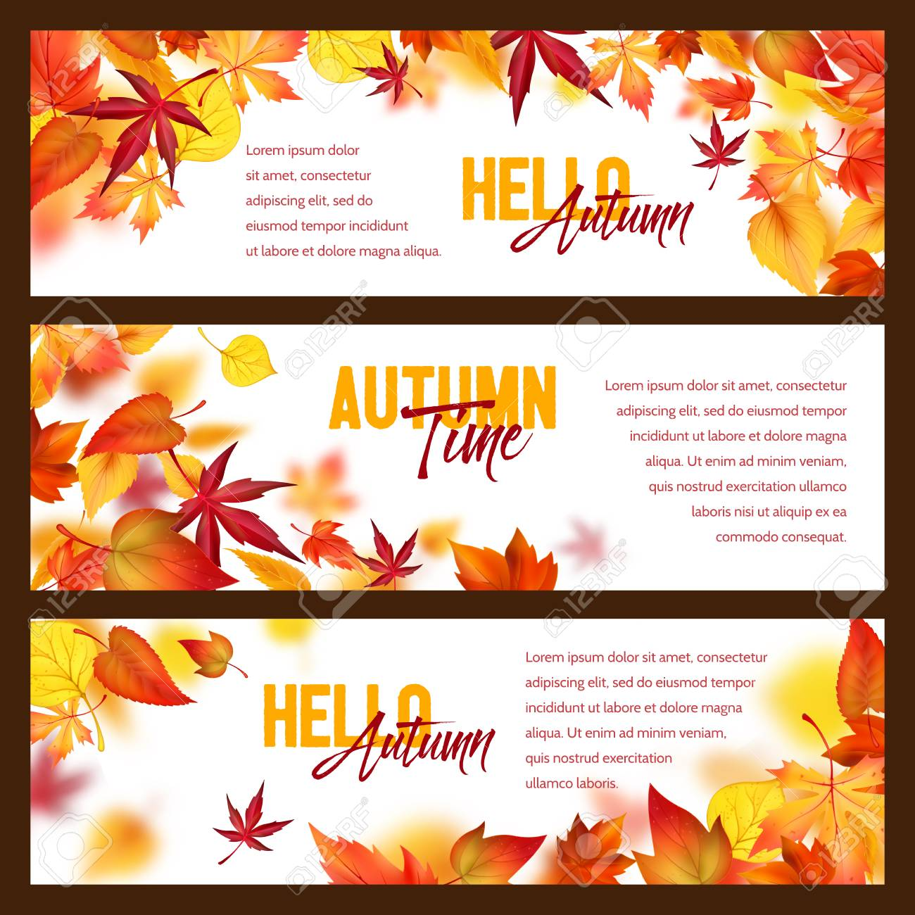Autumn foliage fall falling leaves vector banners - 101254665