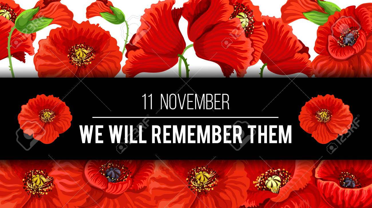 Remembrance Day with floral design poster. - 101009750