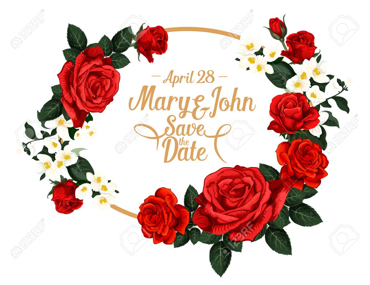 Save The Date Wedding Invitation Card Design Of Red Roses Flowers ...