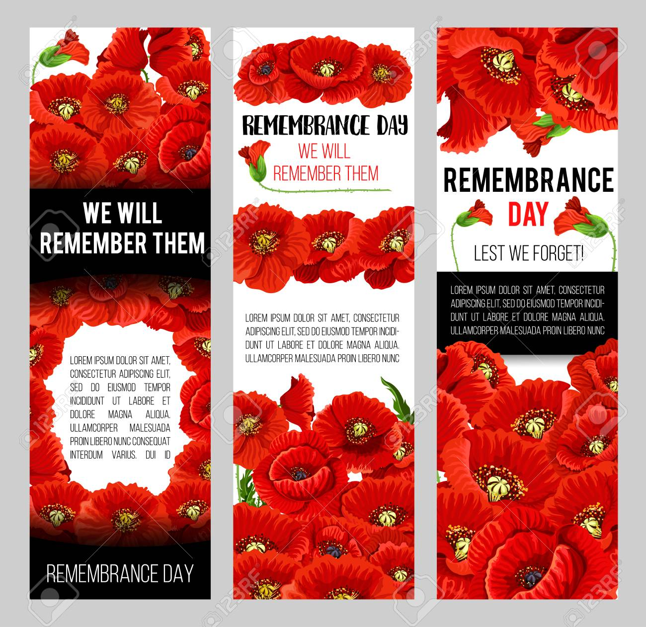 Remembrance Day Poppy Banner For World War Soldier And Veteran