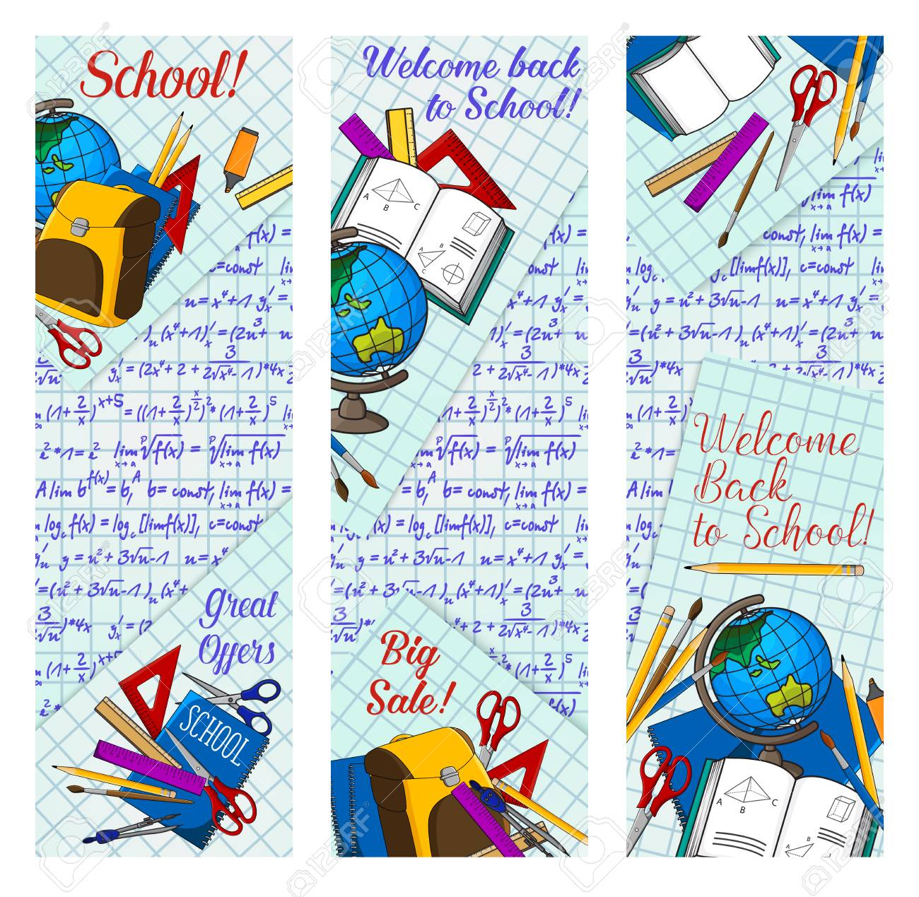 back to school supplies discount offer banner for new school year sale season template student