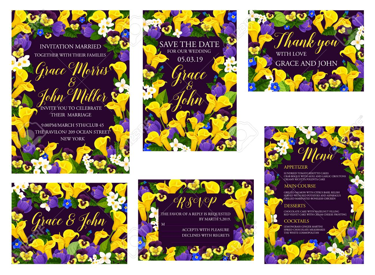 Wedding Ceremony Celebration Floral Banner For Invitation Template