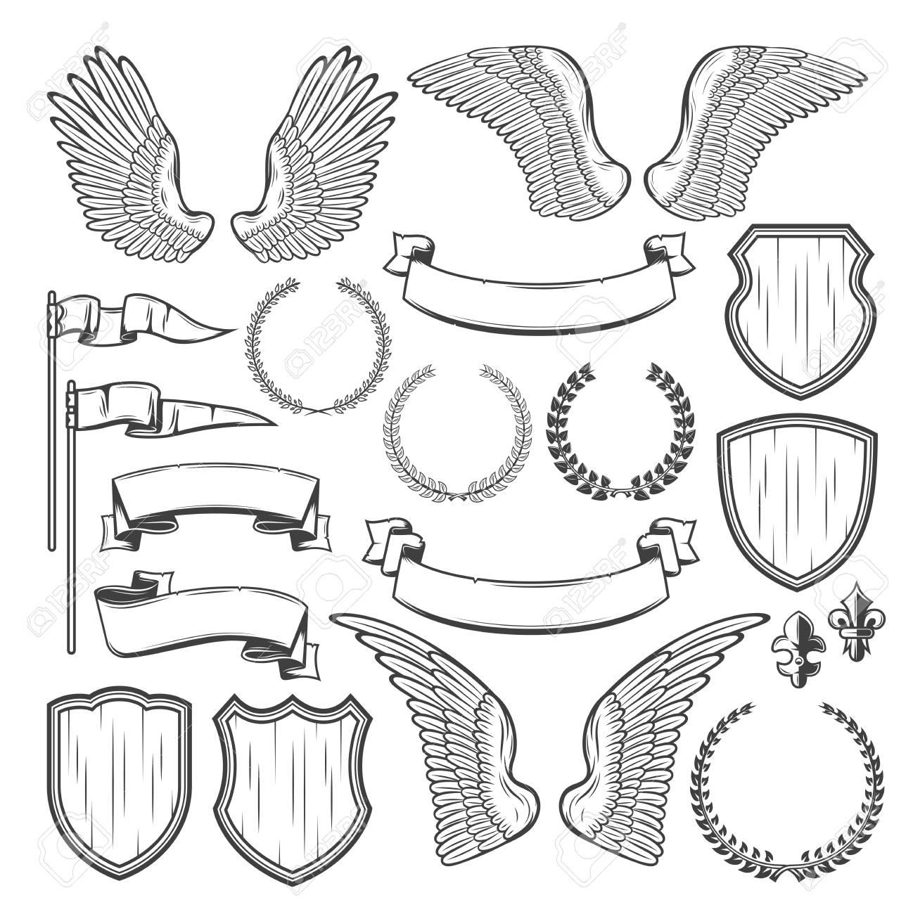 Heraldic Element For Medieval Badge And Royal Crest Design Heraldry Shield Wing Laurel