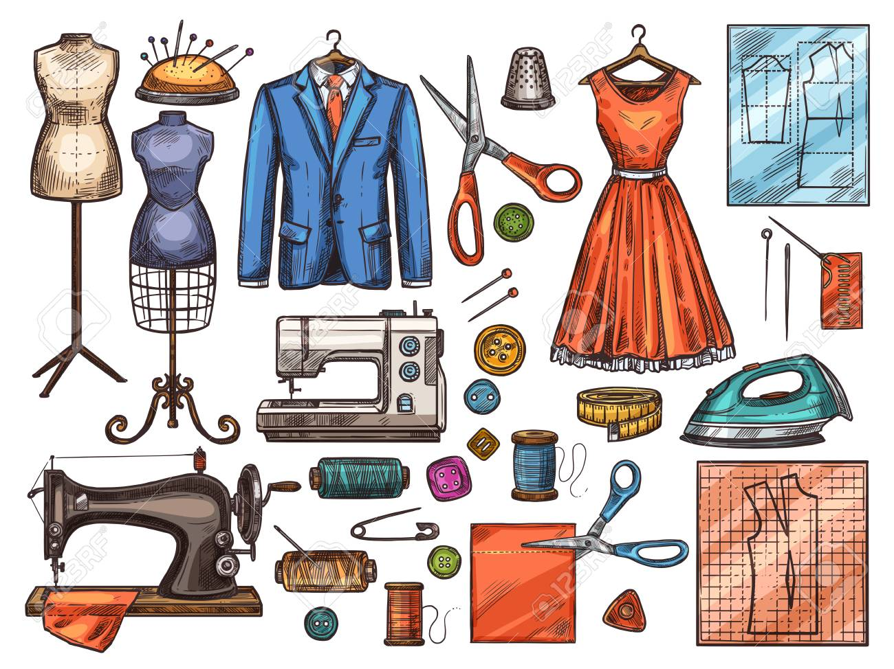 Sewing Tool And Tailor Equipment Sketch For Atelier Or Fashion Royalty Free Cliparts Vectors And Stock Illustration Image 121823324