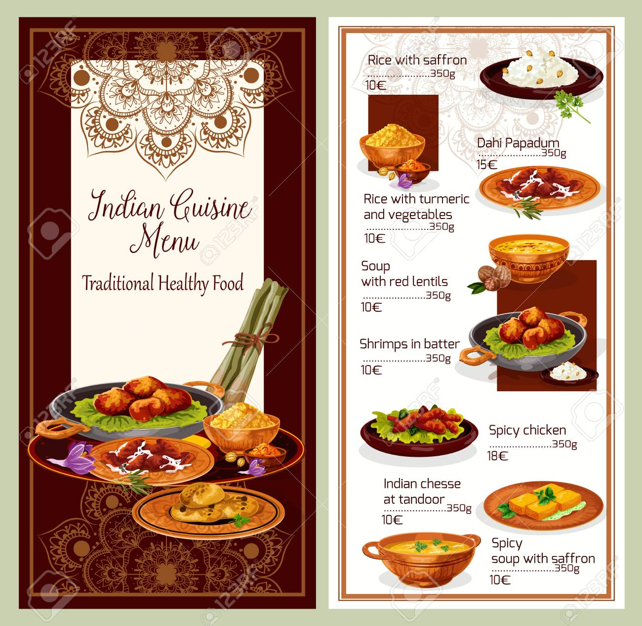 Indian Cuisine Restaurant Menu Template With Healthy Lunch Dish
