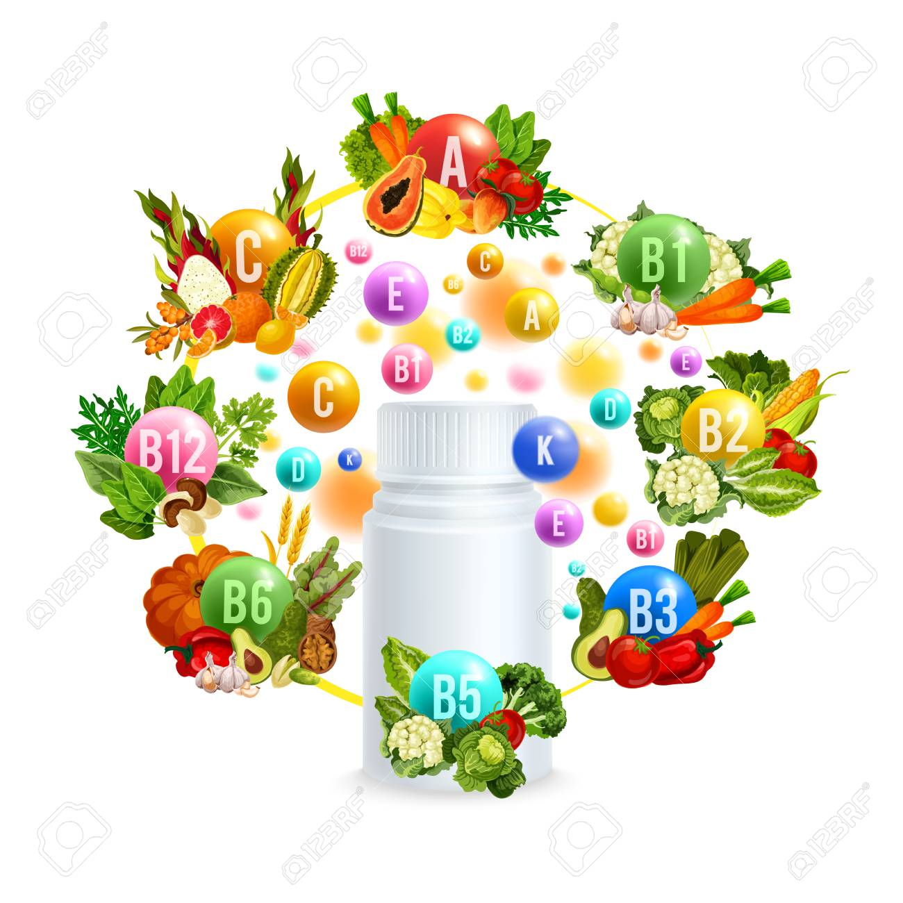 Natural vitamin with healthy food poster design - 103511877