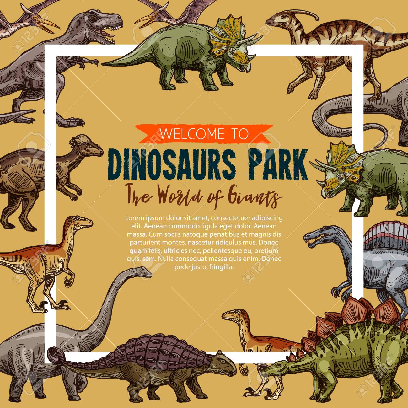 Vector sketch poster for dinosaurs park - 104010377