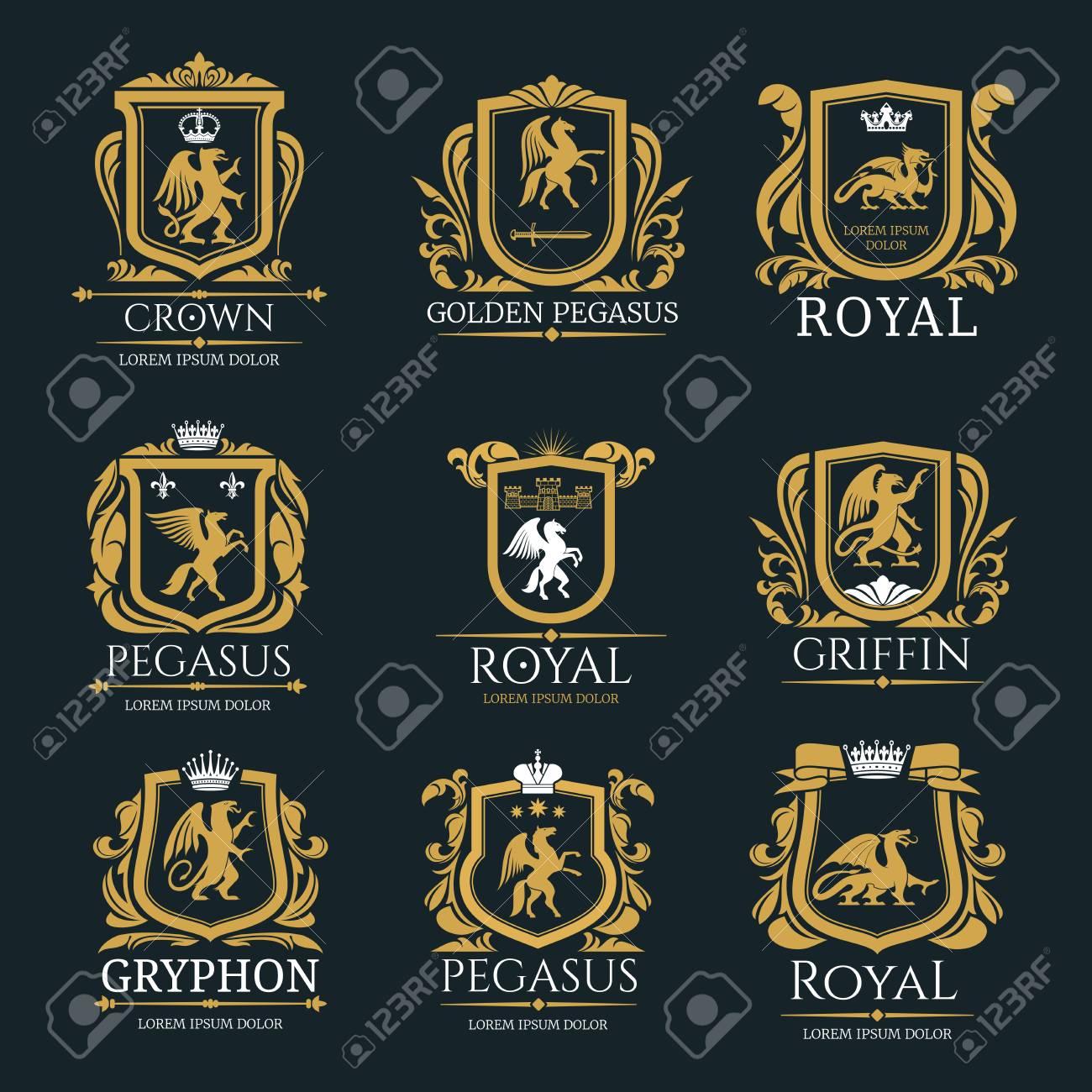 Heraldic royal animals vector isolated icons - 104011872