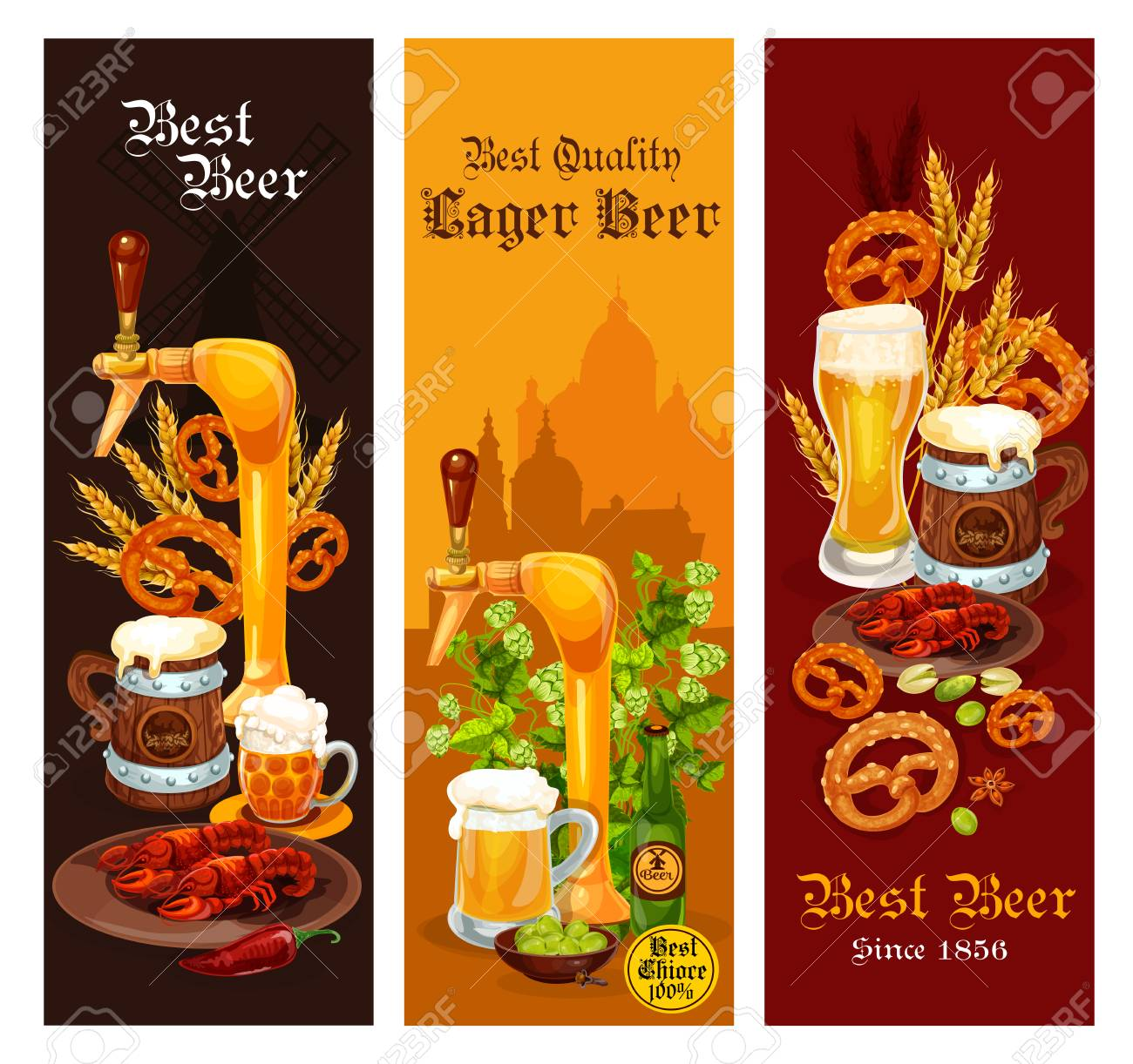 Beer Banner Set Of Alcohol Drink For Pub And Bar Menu Template. Beer ...