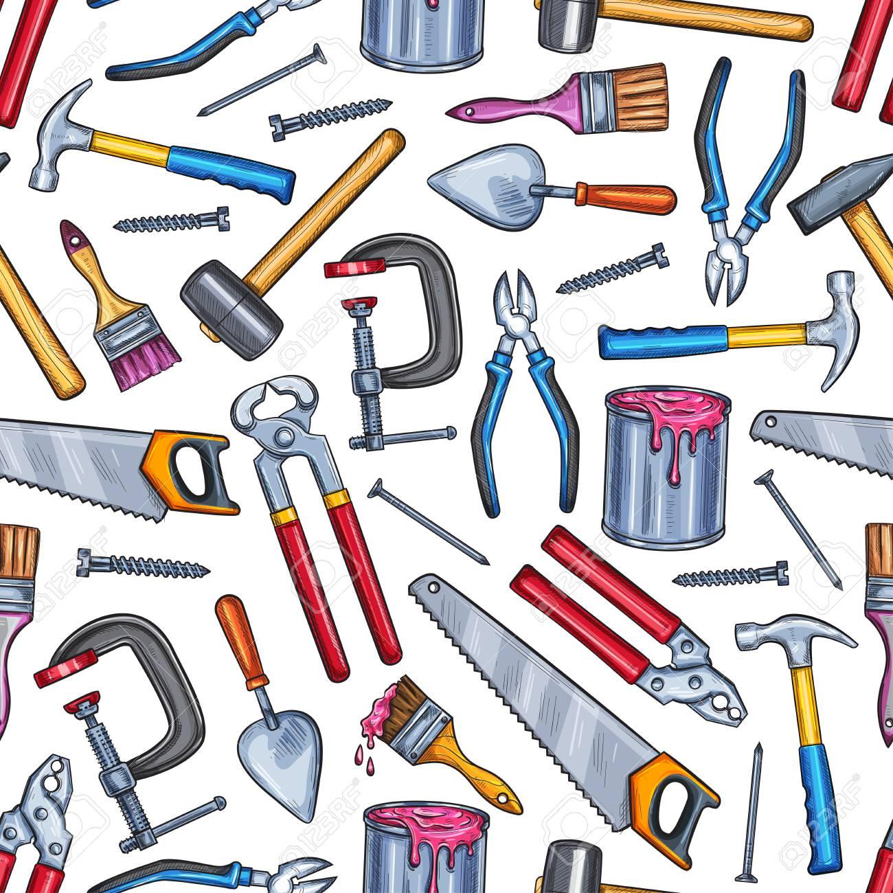 Repair work tool seamless pattern background - 104209379