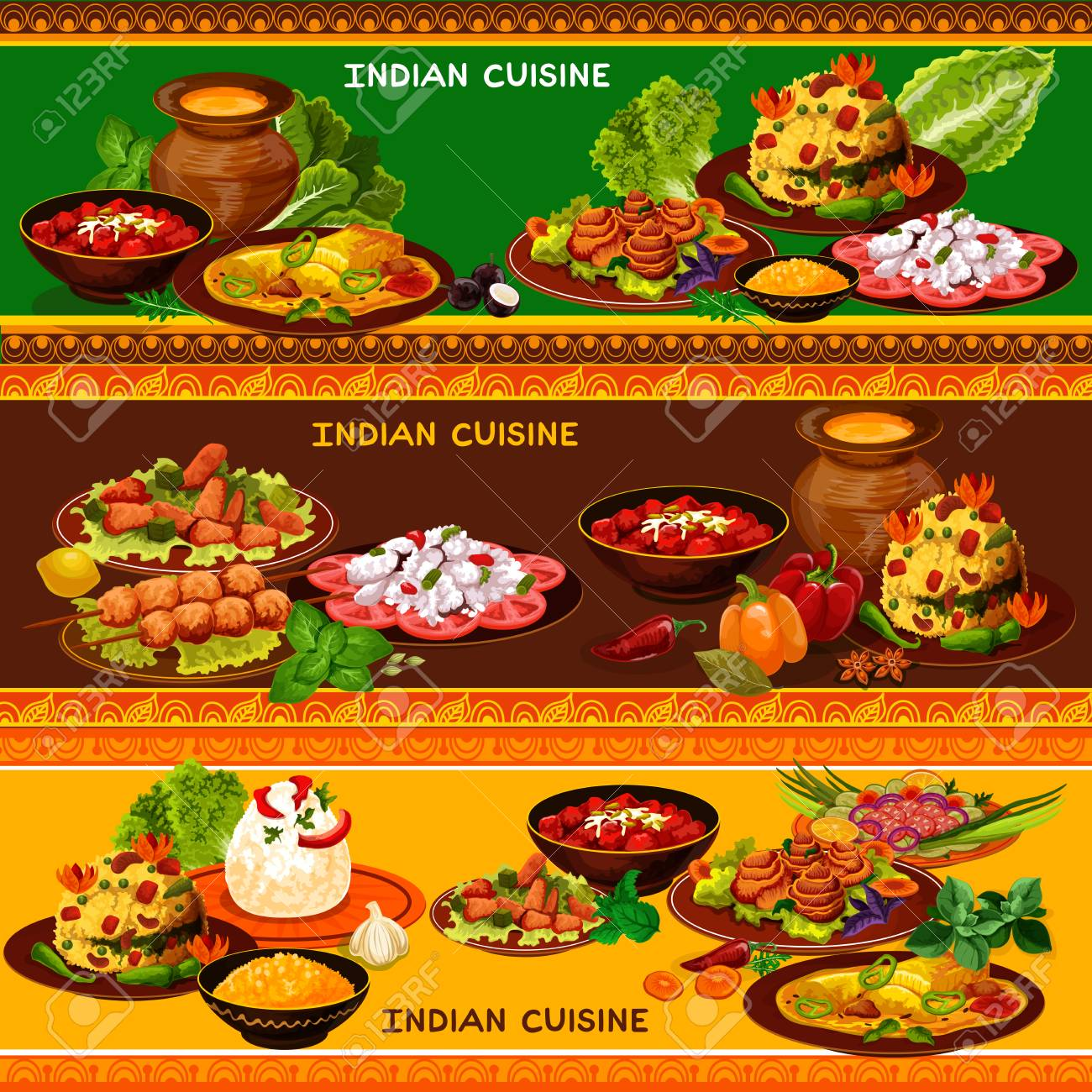 Indian Cuisine Restaurant Banner Set With Ethnic Asian Menu Royalty Free Cliparts Vectors And Stock Illustration Image 104096455