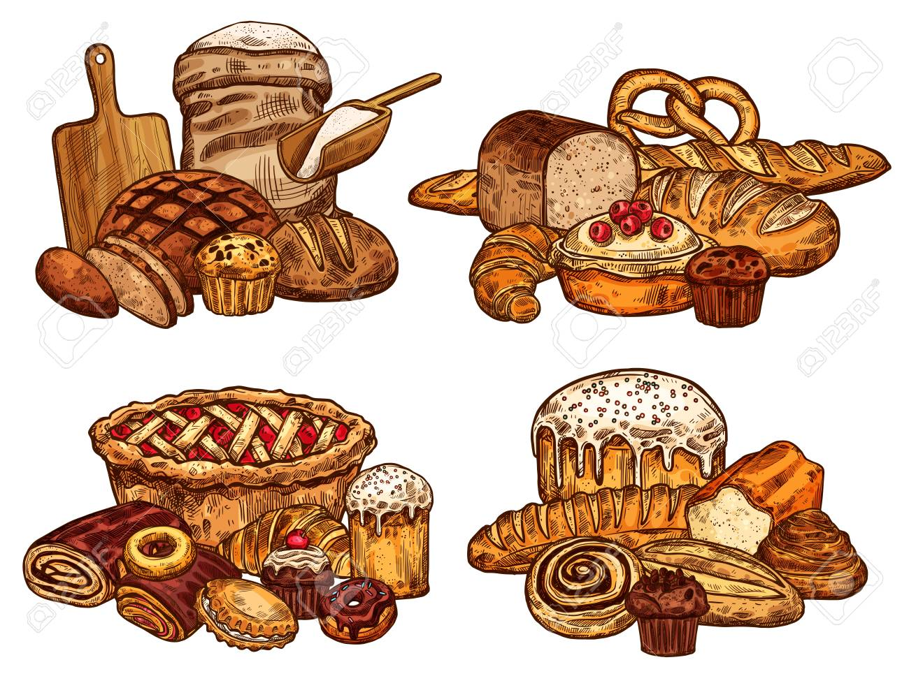 Bakery shop bread and pastry sketch. Vector design of wheat loaf and rye bagel or croissant baguette, flour bag and cutting board with rolling pin, chocolate donut or sweet cookie for patisserie - 104313435