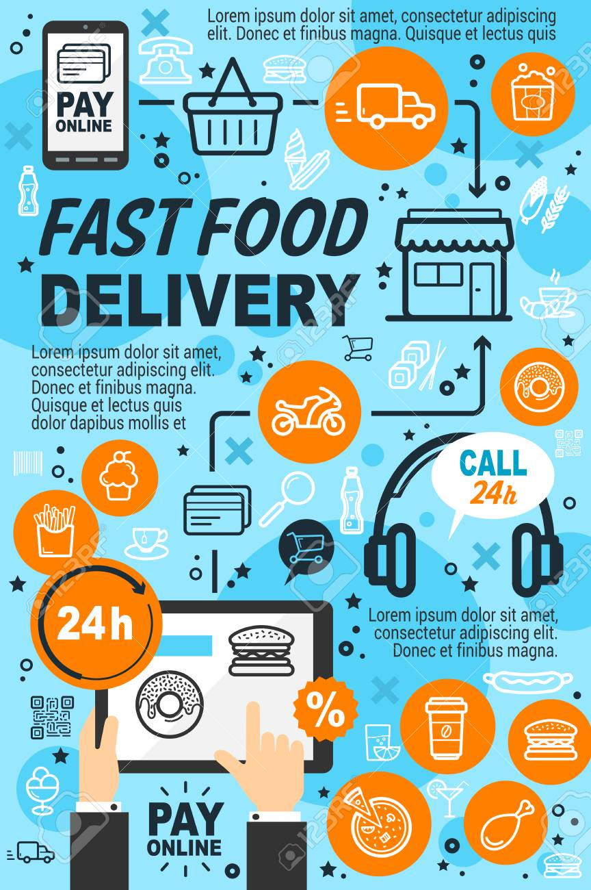 Delivery service fast food icons line art poster  Internet app