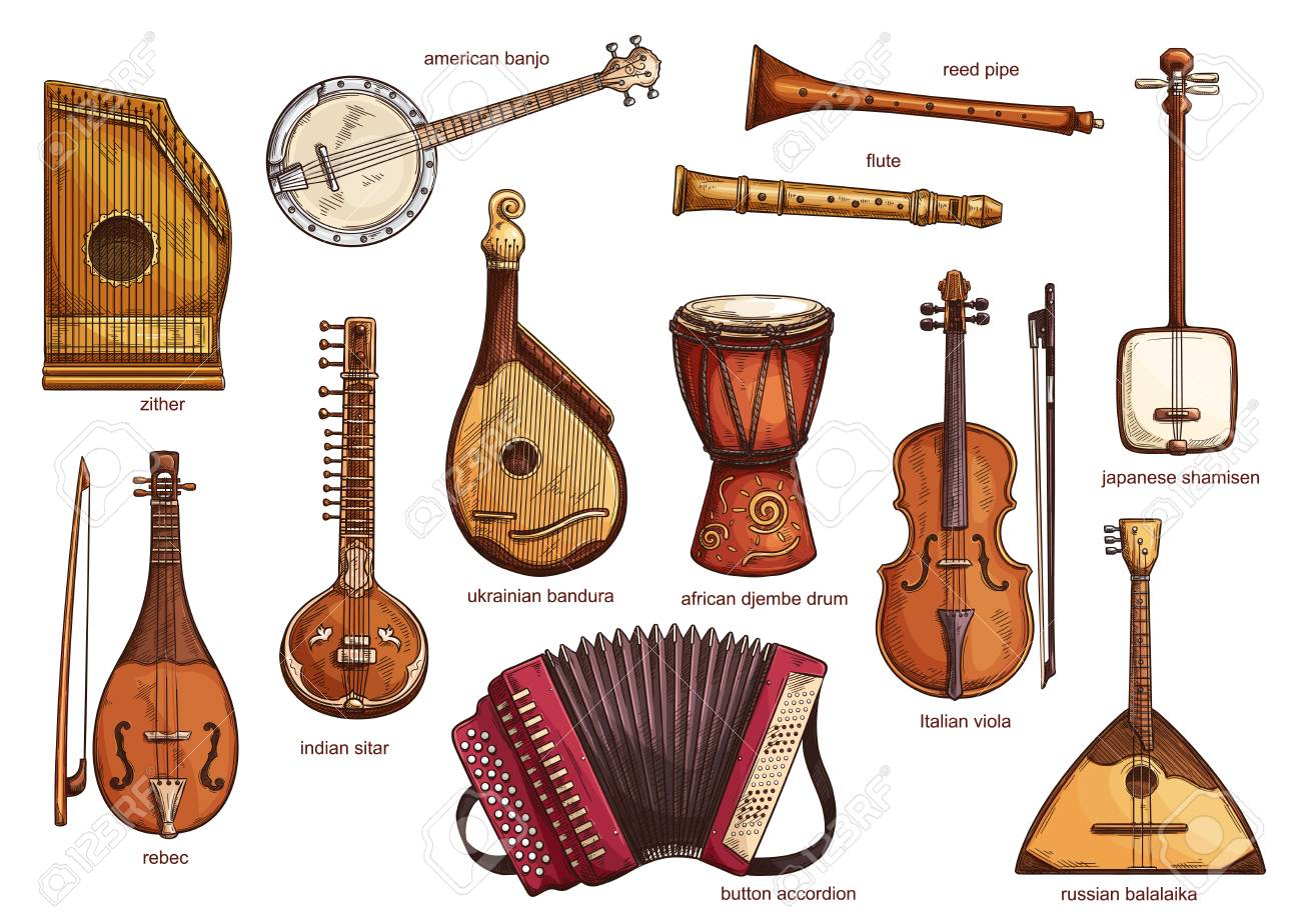 Musical instruments set zither and american banjo, reed pipe and flute. Classical music equipment collection rebac and indian siltar, ukrainian bandura and button accordion, african djembe drum vector - 114937134