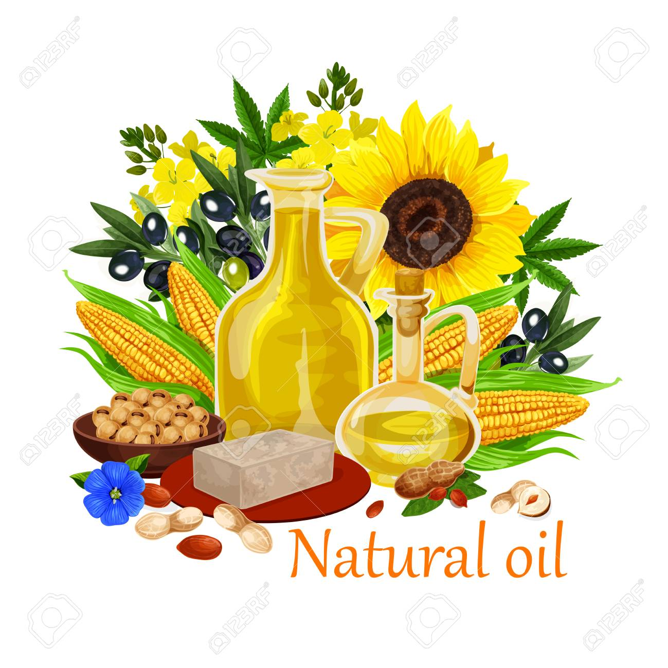 Natural oil made of sunflower seeds, olive and corn, peanuts