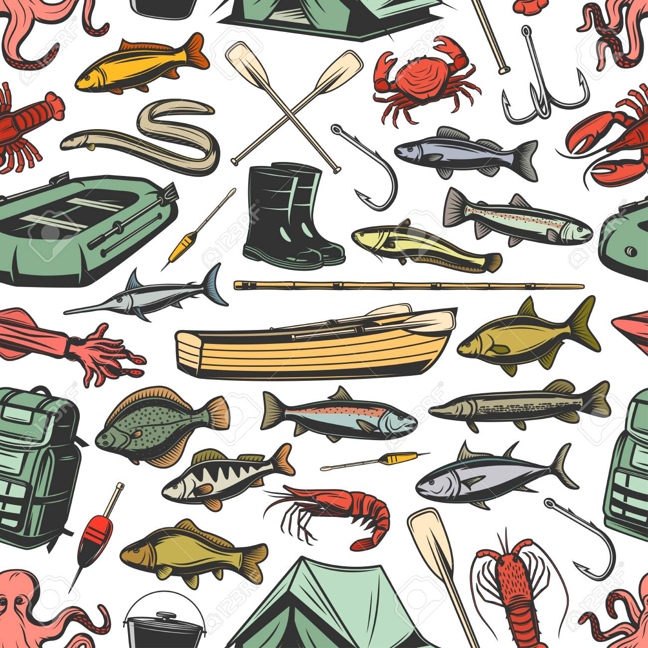Fishery gear equipment, fishing and fish seamless pattern. Inflatable and wooden boats, rods and boots, paddles and waterproof tent sketch vector. Tuna and hake, sardine, sea brass, dorado and cod - 114948704