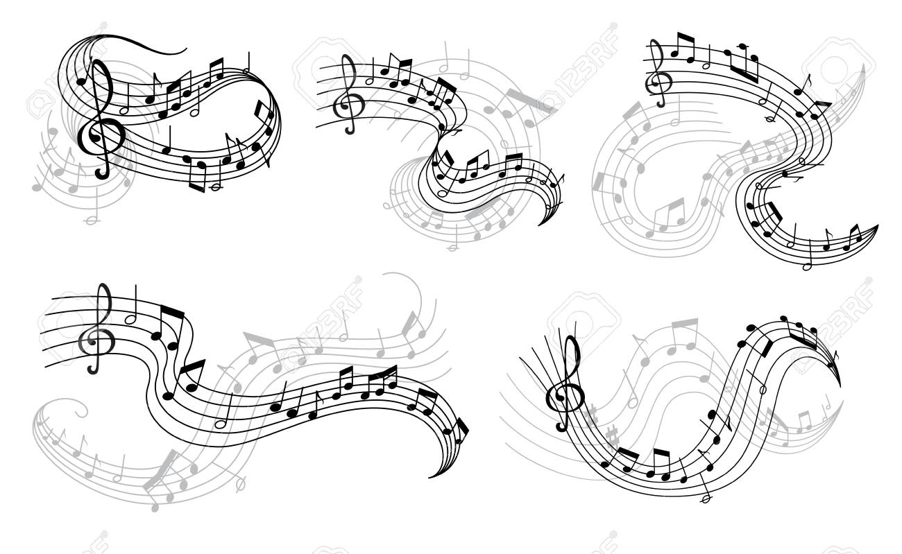 Vector music notes on staff icons - 106194576
