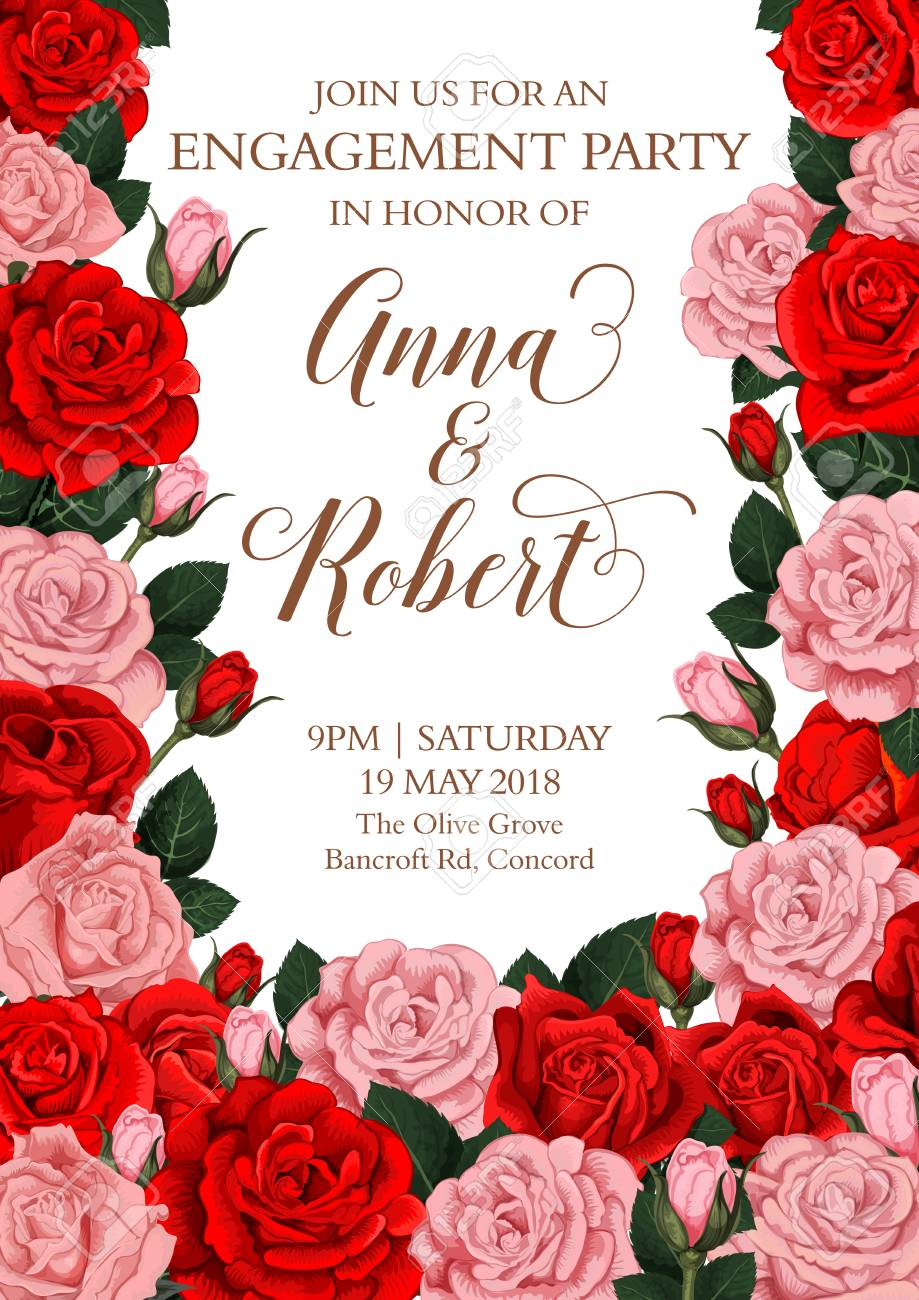 Vector Engagement Invitation Card Of Roses Flowers Royalty Free ...