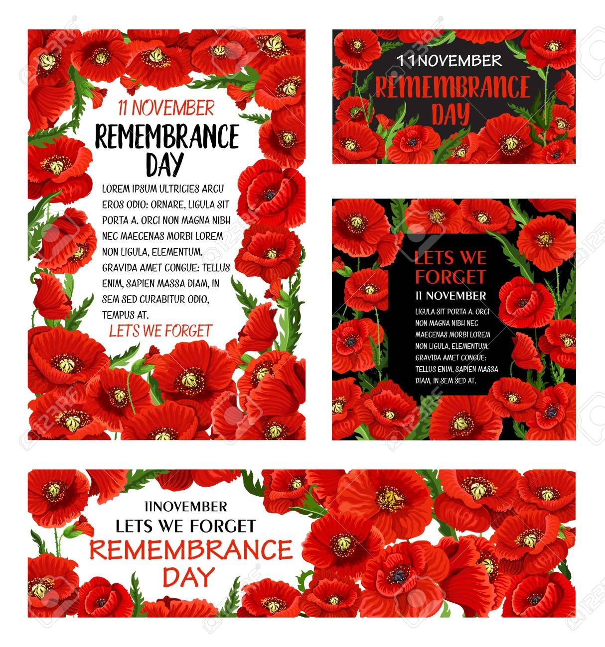 Remembrance Day Red Poppy Flower Poster With Floral Frame