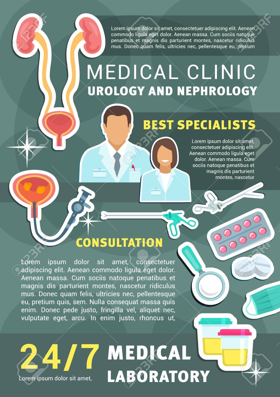 Urology and nephrology medical clinic promo poster with doctor,