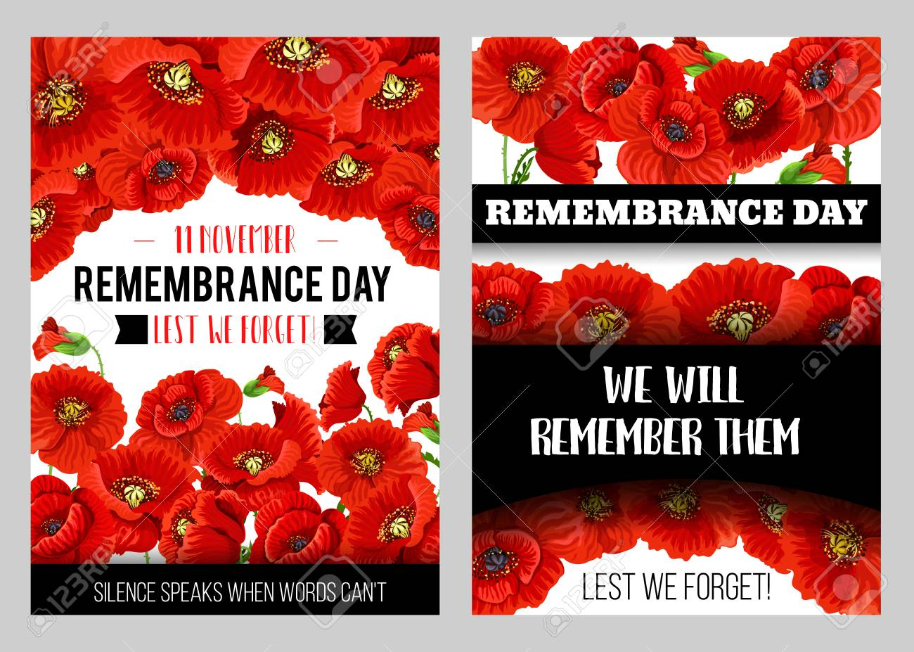 Remembrance Day Memorial Poster With British Legion Poppy Flower