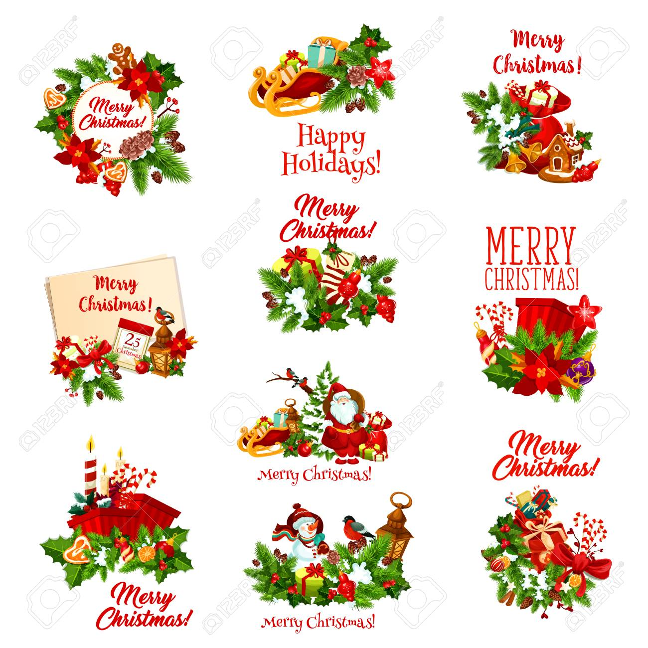 Christmas Holidays Icon.Merry Christmas Holiday Festive Icon Xmas Gift Tree And Holly