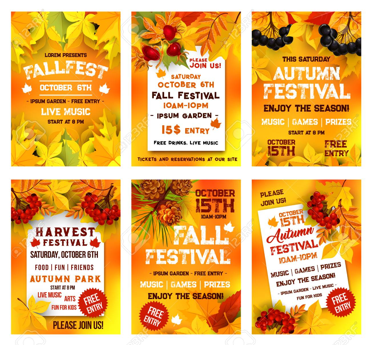 Autumn festival poster template set. Fall season harvest celebration banner, adorned by yellow maple leaf, orange chestnut foliage, rowan and briar berry, pine cone for autumn party invitation design - 114709885
