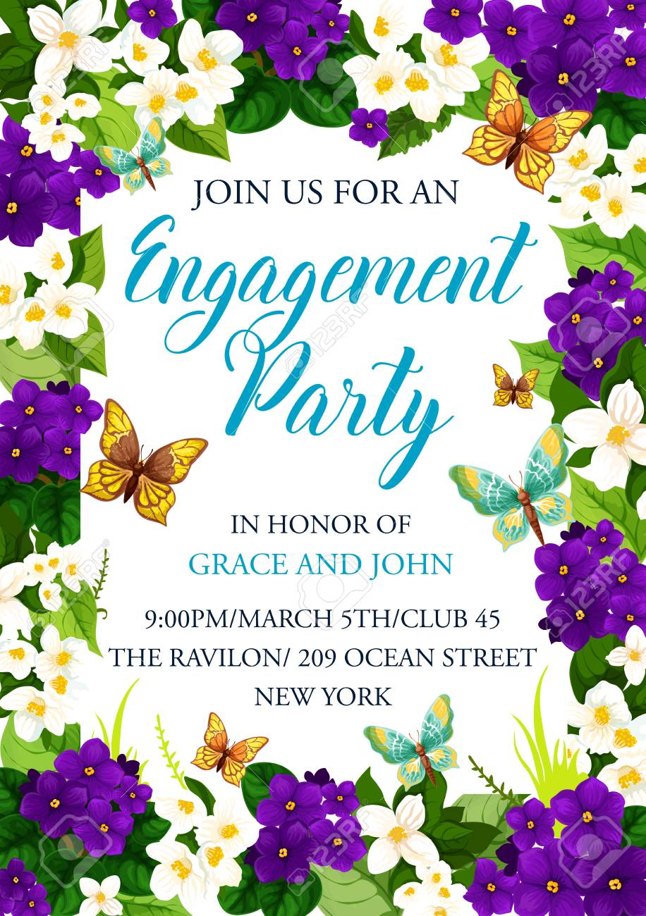 Engagement Party Invitation Card For Wedding Or Save The Date