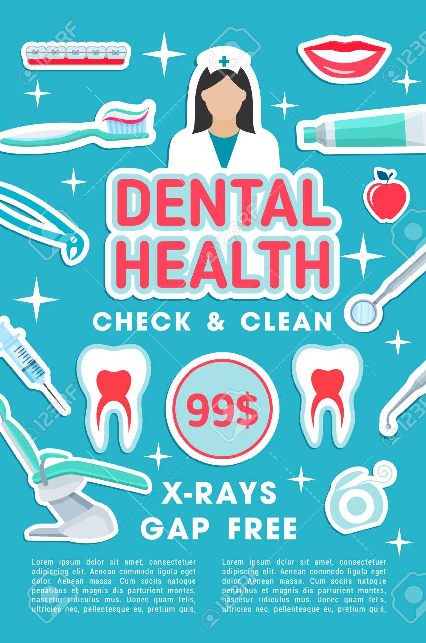 Dental health check and clean poster of dentistry medicine or