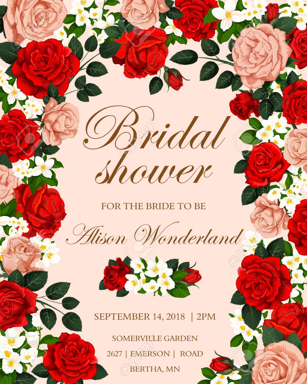 Wedding Rose Flower Banner For Bridal Shower Invitation Red Royalty Free Cliparts Vectors And Stock Illustration Image 105944444